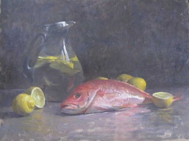 Red Snapper and Lemons by Carol Fortunato 14x18 Oil