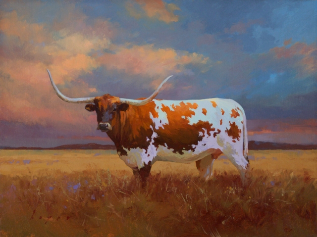 Portrait of a Longhorn by Lyn Boyer 12x16 Oil