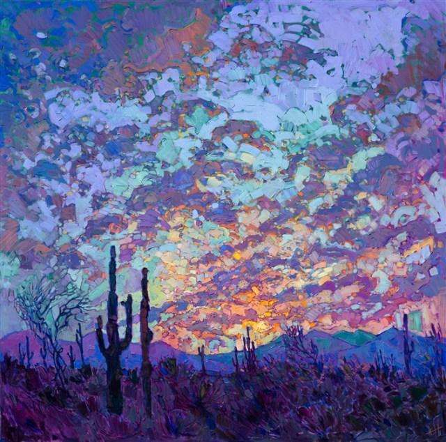 Saguaro Dusk by Erin Hanson 48x48 Oil