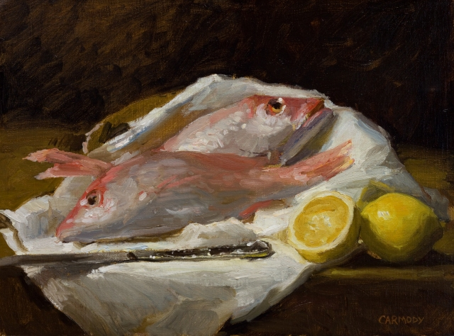 Snapper with Lemon by Kelly Carmody 12x16 Oil