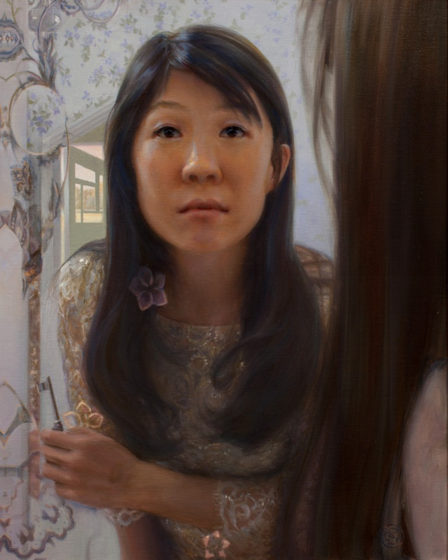 Self Portrait in Mirror by Kate Sammons 20x16 Oil
