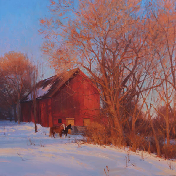 Waiting for Spring by Michael Albrechtsen 28x28 Oil