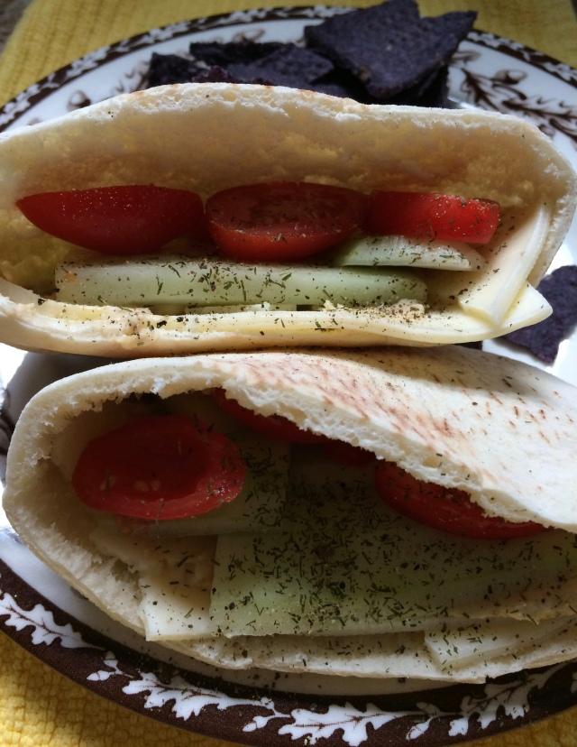 Pita with Hummus, Cheese & Tomatoes