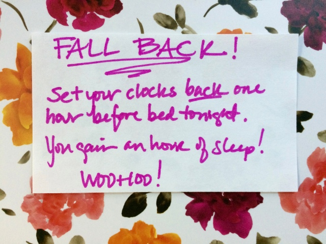 Set your clocks back on hour!