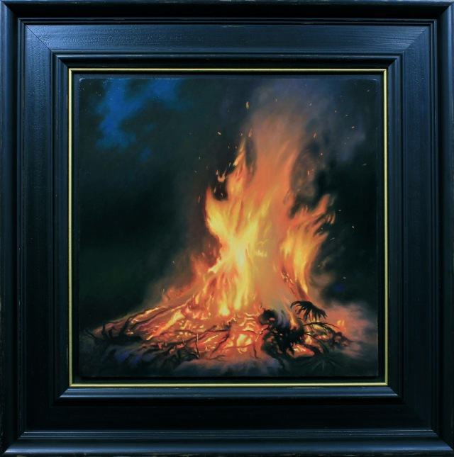 Bonfire by Matthew Cornell 12x12 Oil