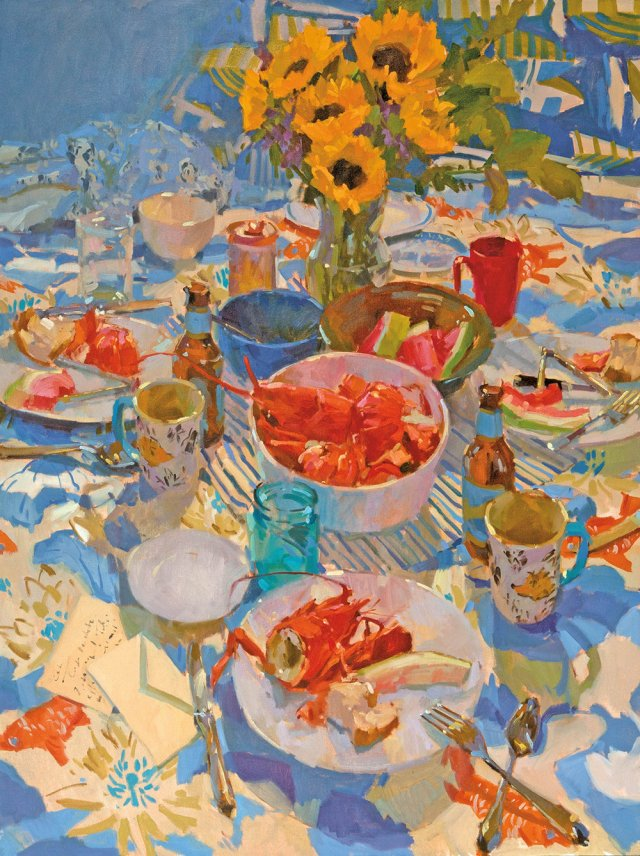 lobster-blues-by-colin-page-48x36-oil