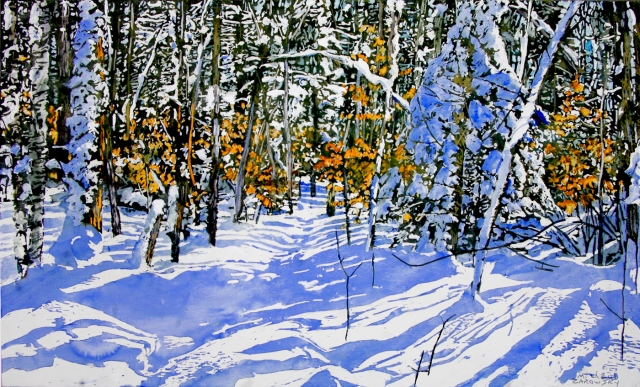 sunlit-trail-thru-a-clear-winters-day-by-micheal-zarowsky-18x30-mixmedia
