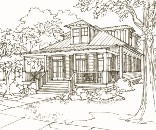 18 sumter drive house plan by our town plans for Our town house plans