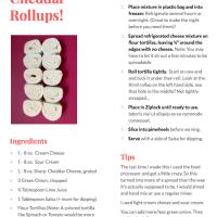 Game Day Recipe Favorite! Tortilla Cheddar Rollups!