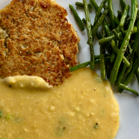Salmon Patties, Polenta with Cheese and Green Onion and Green Beans